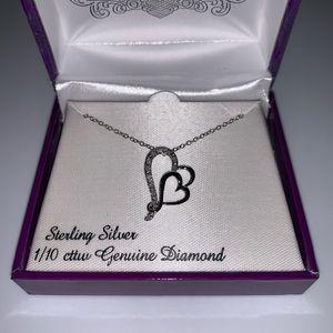 Jewelry - 1/10 Carat Diamond - Silver Double Heart Necklace